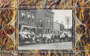 F85/ Timpson? Texas Postcard c1910 Bussey's Drug Store Parade Crowd