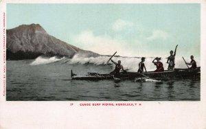 Canoe Surf Riding, Honolulu, Hawaii Territory, Early Postcard, Unused