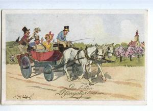 187368 COMIC Drunk Lovers HORSE by SCHONPFLUG vintage PC