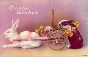 EASTER WISHES RABBIT PULLING CART OF FLOWERS 1924