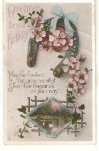 Landscape. Flowers. Horseshoe  Tuck Birthday Greetings Ser. PC # R450