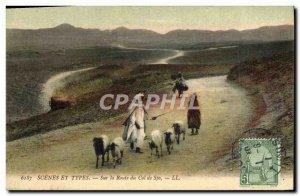 Old Postcard Scenes et Types Chevre On the way Sfa Tunisia neck