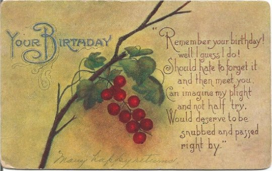 Red Currants or Grapes on Vine Your Birthday in a Victorian Vintage Postcard
