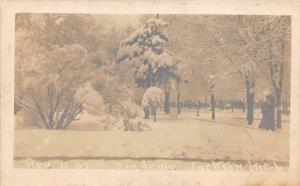 D21/ Jackson Michigan Mi Real Photo RPPC Postcard c1910 7in Snow Storm
