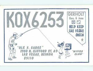 Girl's Dress Snagged By Fishing - Qsl Cb Ham Radio Card Las Vegas NV t9071