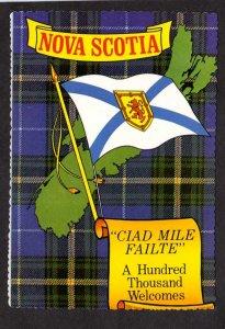 NS Ciad Mile Failte Nova Scotia Scotian Tartan Canada Carte Postale Postcard