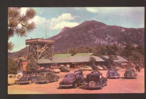 ROCKY MOUNTAIN NATIONAL PARK DEER RIDGE CHALET 1930's CARS VINTAGE POSTCARD
