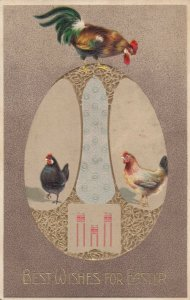Best Wishes for EASTER, 1900-10s; Decorative egg, Chickens