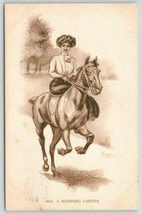 Artist Signed~A Morning Canter~Lovely Lady on Horseback~Sidesaddle~1910 Sepia