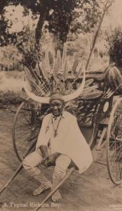 Durban South Africa Ricksha Boy Headdress Head Helmet Antique Postcard