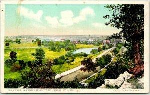 Kansas City Missouri FRED HARVEY Postcard Lake in Penn Valley Park G-44 Unused