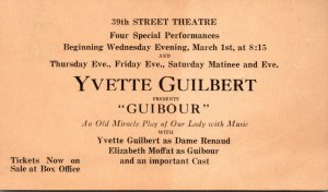 39th Street Theatre Yvette Guilbert Presents Guibour