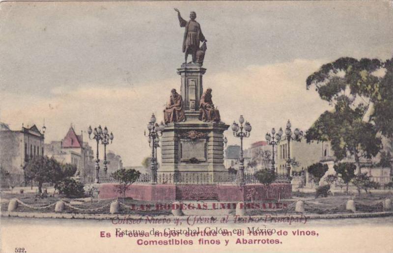 Estatua De Cristobal Colon En Mexico, 1910-1920s