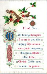 ARTS & CRAFTS Style CHRISTMAS Greeting  Postcard  1909   TO GREET YOU