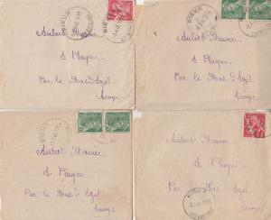 Rieux France 4x 1941 WW2 Frank Postmark Letters & Envelope s