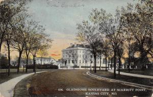 Kansas City Missouri~Gladstone Boulevard at Scarritt Point~1912 Postcard