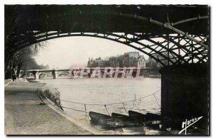 Old Postcard Under the Bridges of Paris Pont Neuf seen from the Pont des Arts