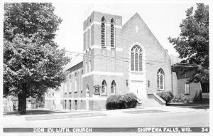 Chippewa Falls Wisconsin~Zion Evangelical Lutheran Church~1940s RPPC