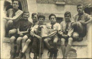 Boy Scouts Pose w/ Flag Uniforms Real Photo Postcard NICE IMAGE