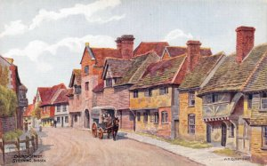 Vintage West Sussex Art Postcard, Church Street, Steyning by A.R Quinton DP3
