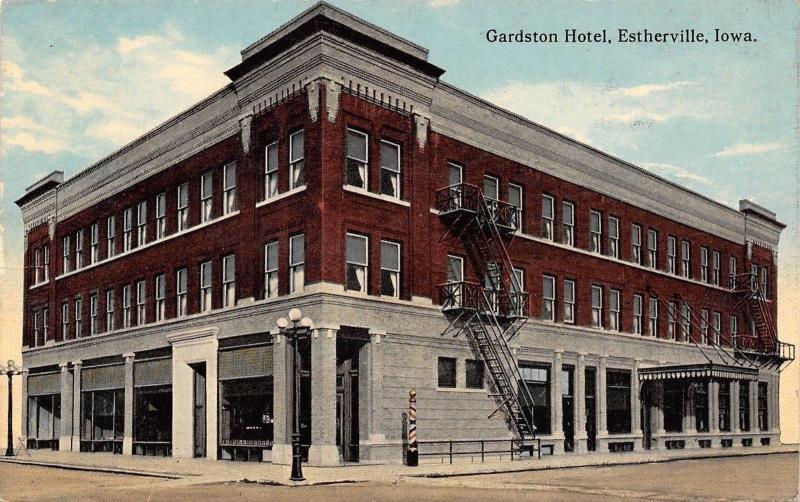 Estherville Iowa Gardston Hotel Fire Escapes Bat Barber Pole C1910