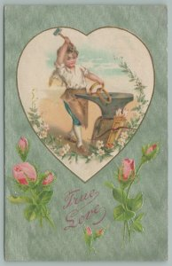 Valentine~Blacksmith Cupid Hammers Rings On Anvil~Bow~Arrows In Quiver~Apron