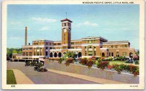 Little Rock, Ark. Postcard Missouri Pacific Depot Train Station Curteich Linen