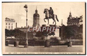 Postcard Old Lyon Place Bellecour Louis XIV Statue Church of Charity