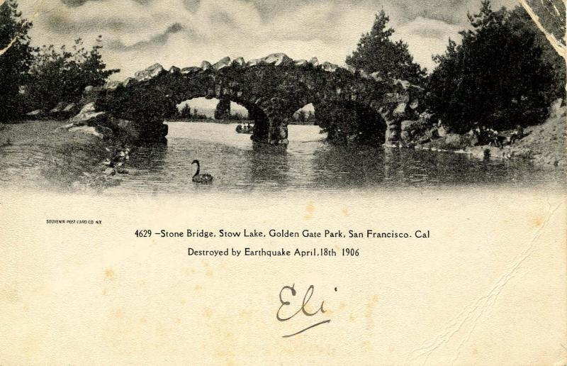 CA - San Francisco. Golden Gate Park Stone Bridge, Stow Lake. Destroyed by 19...