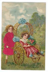 Vintage Postcard Children Applied Silk Dress Cart Embossed