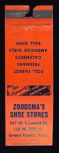 Grand Rapids, Michigan/MI Matchcover/Matchbook, Zoodsma's...