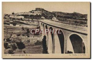 Old Postcard Forcalquier Viaduct and the city