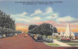 St Petersburg Florida~Approach to Recreation Pier @ Yacht Basin~1949 Postcard