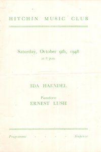 Ida Haendel Polish Violinist at Hitchin Herts Classical Theatre Programme