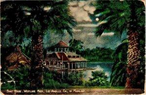 Postcard Boathouse West Lake Park Los Angeles California Moonlight 1913   923