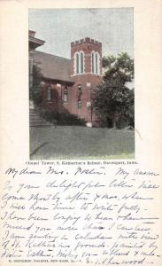 Davenport Iowa St Katharines School Chapel Tower Antique Postcard K83033