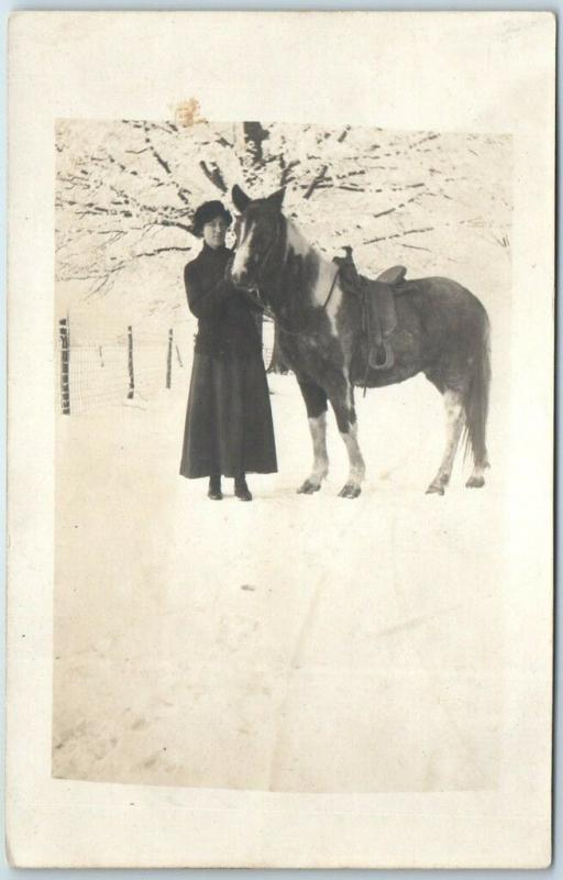 Vintage RPPC Real Photo Postcard Young Woman & Horse in the Snow c1910s Unused