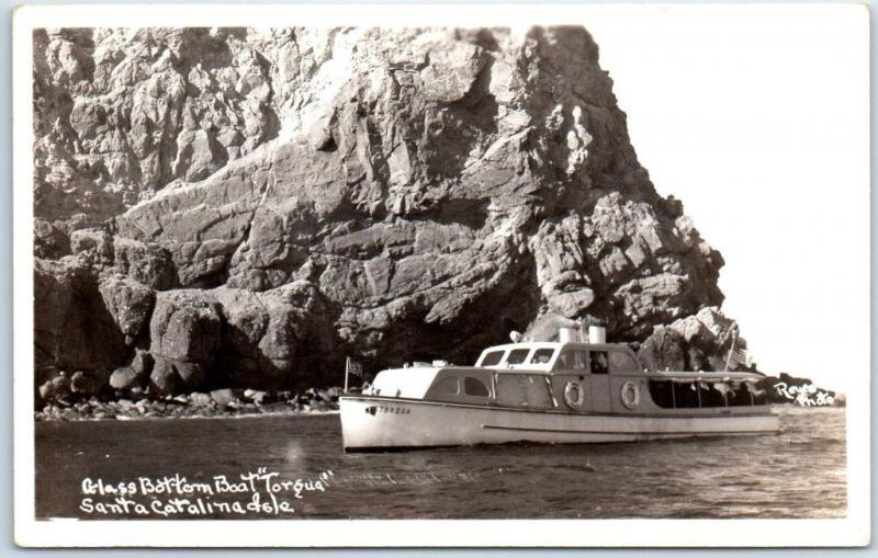Catalina Island Avalon CA RPPC Postcard Glass Bottom Boat TARGUS Reyes Photo