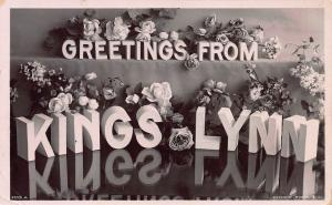 Greetings from Kings Lynn,, England, Early Real Photo Postcard, Used in 1908