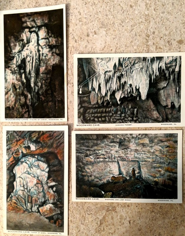 Four Woodward Cave, Woodward Pa  Postcards