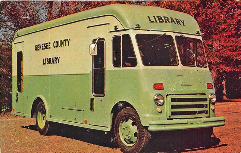 Genesee County MI Library Bookmobile Truck Postcard
