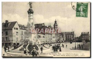 Old Postcard Reims La Fontaine Sube To L & # 39Eglise St Jacques Vanity Comet