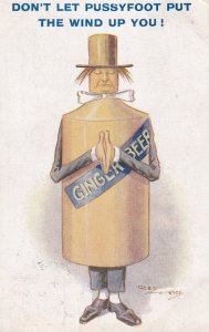 Gingerbeer Pussyfoot Man As Human Bottle Alcohol Antique Postcard