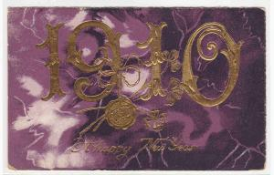 New Year Date 1910 Gold Letter Purple postcard