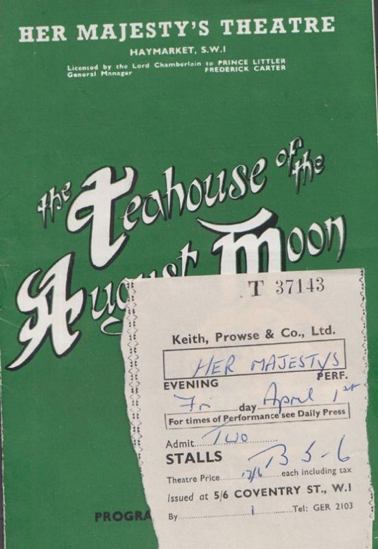 Teahouse Of The August Moon Dickie Henderson William Sylvester Theatre Programme