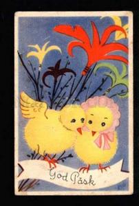 3036760 Dressed CHICKENS as Flowers. Vintage color PC