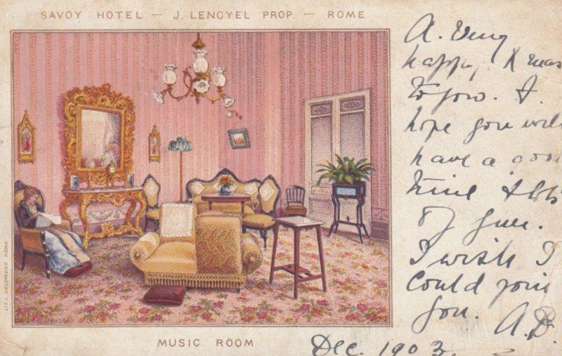 ROMA (Rome) , Italy , 1889 ; Music Room , Hotel Savoy