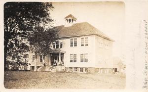F21/ New Sharon Maine RPPC Postcard 1915 High School Building