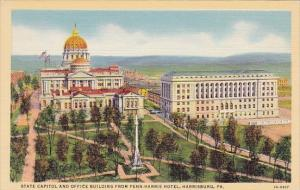 Pennsylvania Harrisburg State Capitol And Office Building From Penn Harris Hotel
