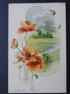 Poppy Postcard: POPPIES c1903 UB by A.B. - Inc Donation to R.B.L.